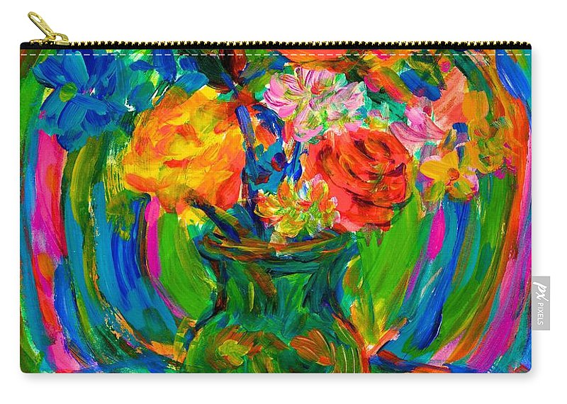 Floral Carry-all Pouch featuring the painting Flower Energy by Kendall Kessler