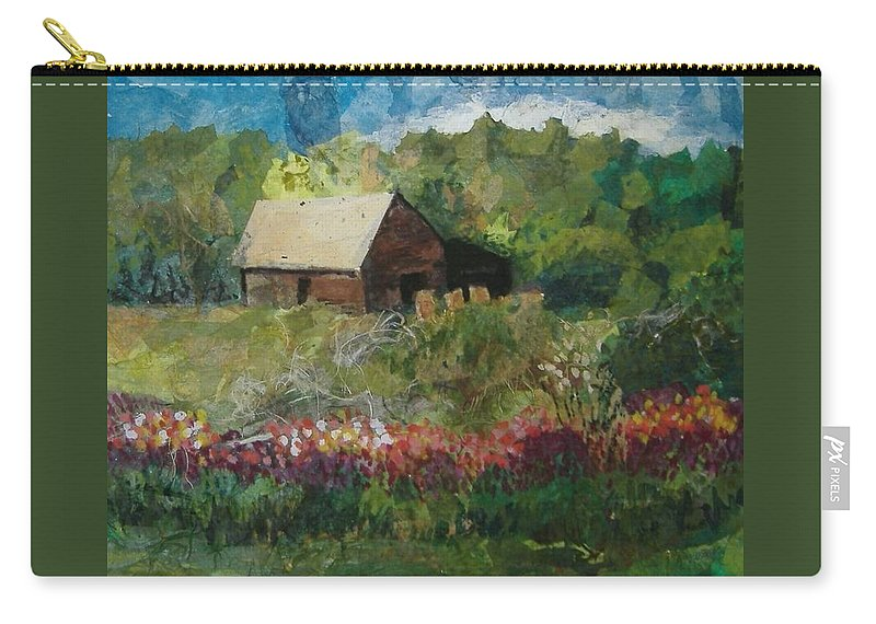 Landscape Carry-all Pouch featuring the mixed media Flower Farm by Pat Snook