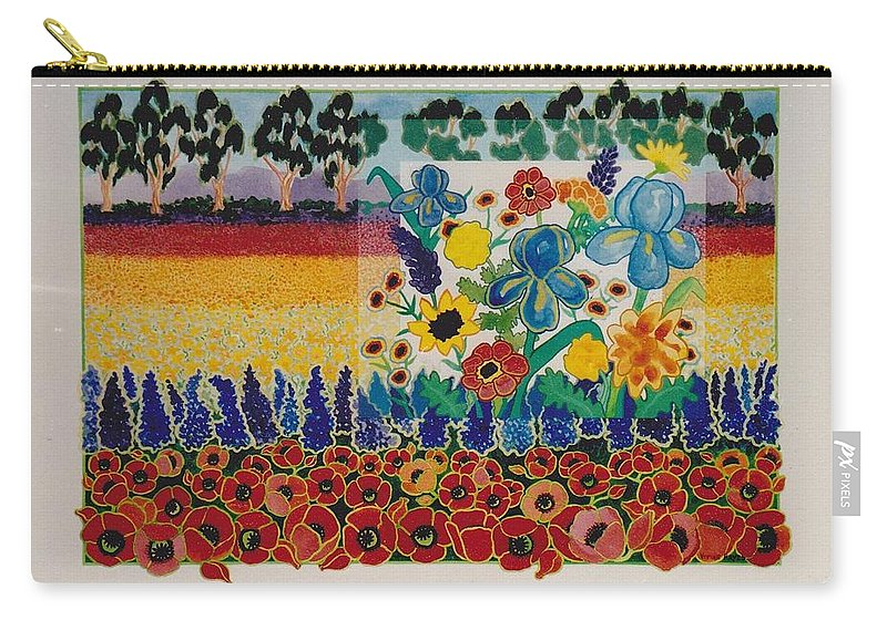 Flowers Carry-all Pouch featuring the painting flower Field by Vivian Chepourkoff Hayes
