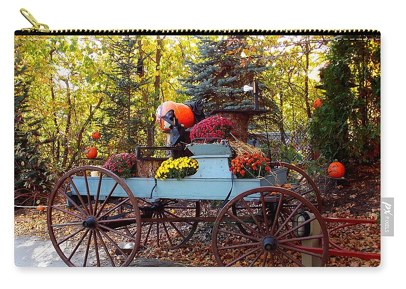 Roger Williams Park Carry-all Pouch featuring the photograph Flower Filled Wagon by Catherine Gagne
