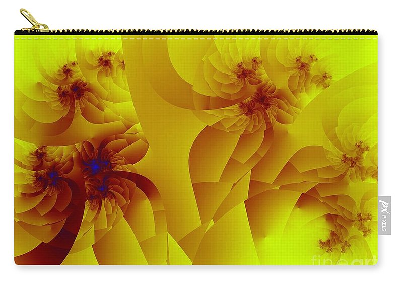 Fractal Art Carry-all Pouch featuring the digital art Flower Formations by Ron Bissett