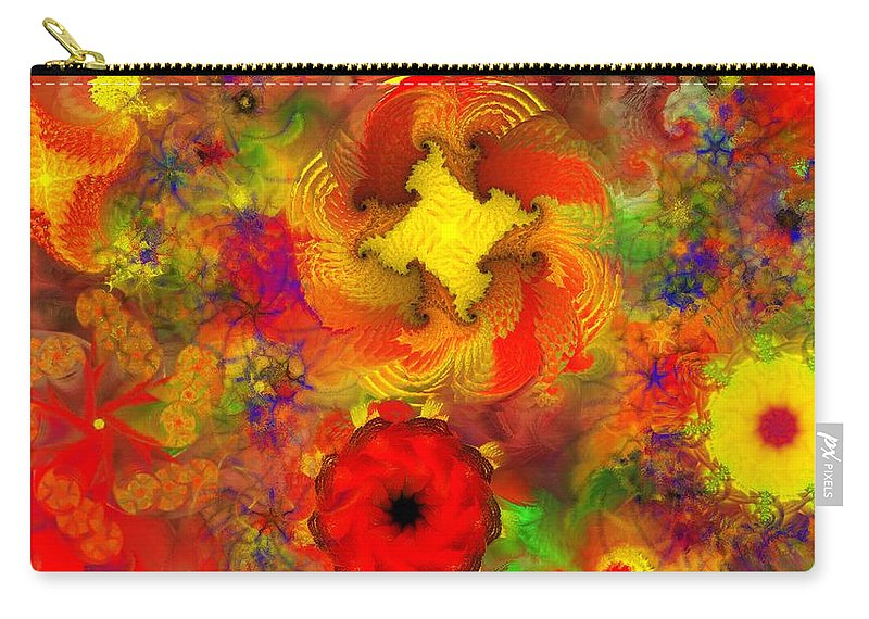 Abstract Digital Painting Carry-all Pouch featuring the digital art Flower Garden 8-27-09 by David Lane