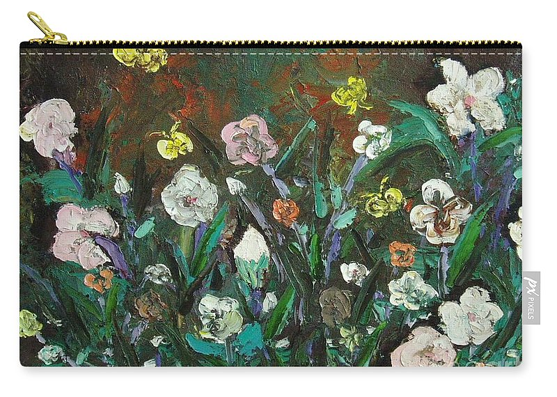 Abstract Paintings Carry-all Pouch featuring the painting Flower Garden by Seon-Jeong Kim