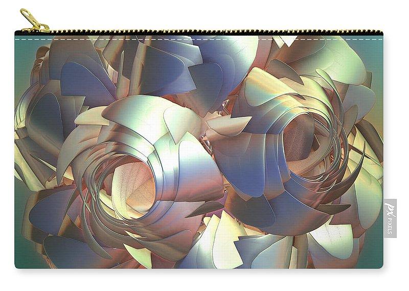 Digital Carry-all Pouch featuring the digital art Flower Globe by Deborah Benoit
