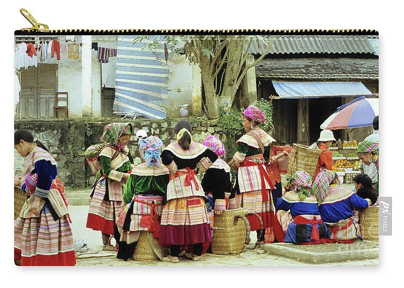 Vietnam Carry-all Pouch featuring the photograph Flower Hmong Women 02 by Rick Piper Photography