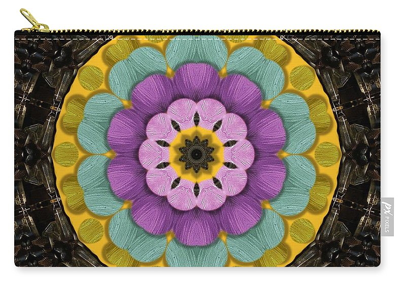 Flower Carry-all Pouch featuring the mixed media Flower In Paradise by Pepita Selles