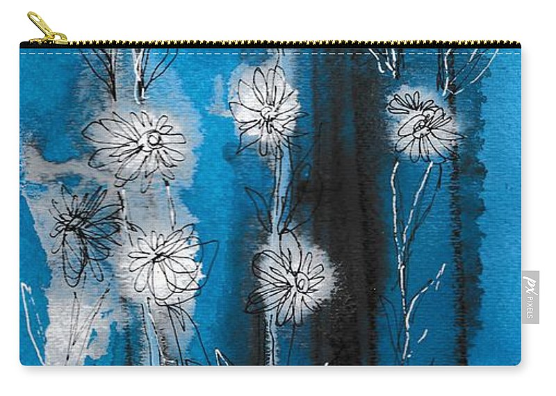 Art Carry-all Pouch featuring the painting Flower Lineup by Louise Adams