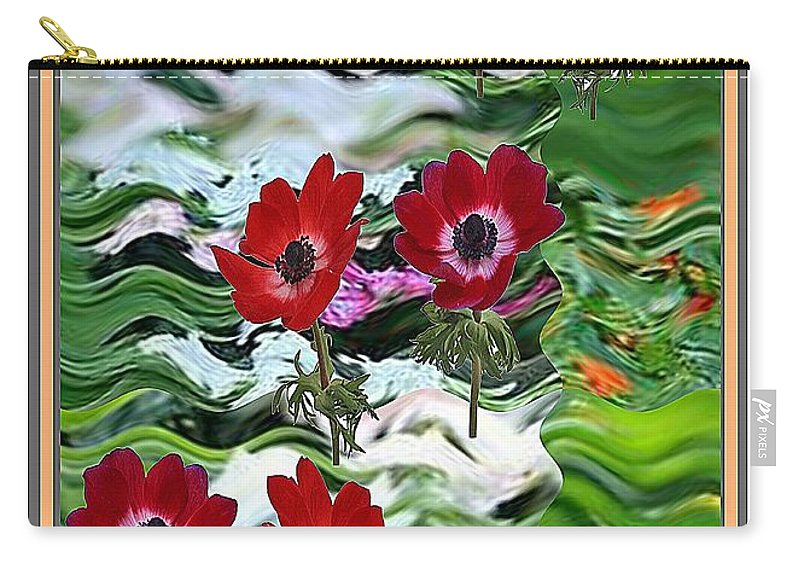 Anemone Carry-all Pouch featuring the mixed media Flower Mania Anemone Fantasy Wave Design Created Of Garden Colors Unique Elegant Decorations by Navin Joshi