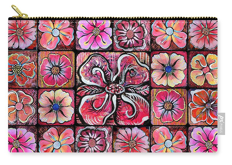 Flowers Carry-all Pouch featuring the painting Flower Montage by Shadia Derbyshire