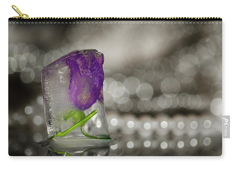 Flower Carry-all Pouch featuring the photograph Flower Of Ice by Jane Svensson
