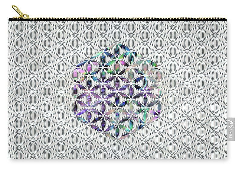 Blume Des Lebens Carry-all Pouch featuring the digital art Flower Of Life Abalone Shell On Pearl by Creativemotions