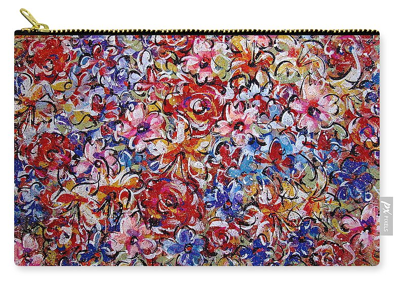 Flowers Carry-all Pouch featuring the painting Flower Passion by Natalie Holland