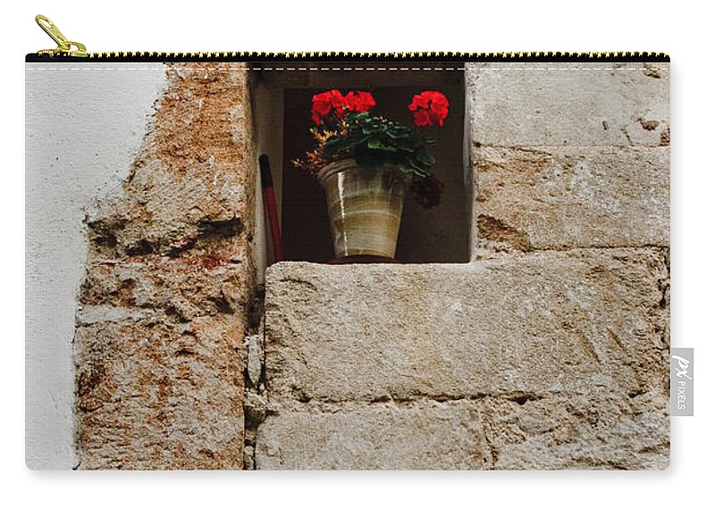 Flower Carry-all Pouch featuring the photograph Flower Pot In Niche by Thomas Marchessault