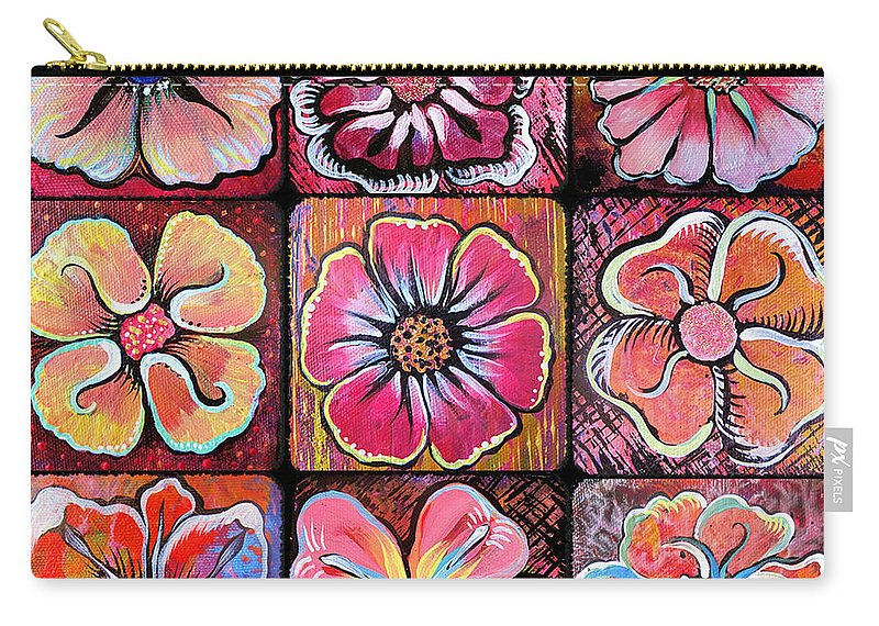 Flowers Carry-all Pouch featuring the painting Flower Power Montage by Shadia Derbyshire
