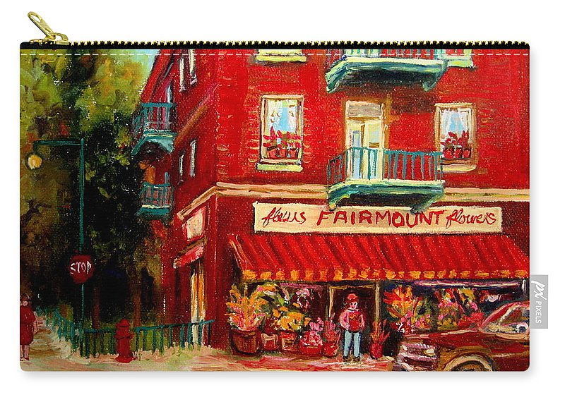 Fairmount Street Carry-all Pouch featuring the painting Flower Shop On The Corner by Carole Spandau
