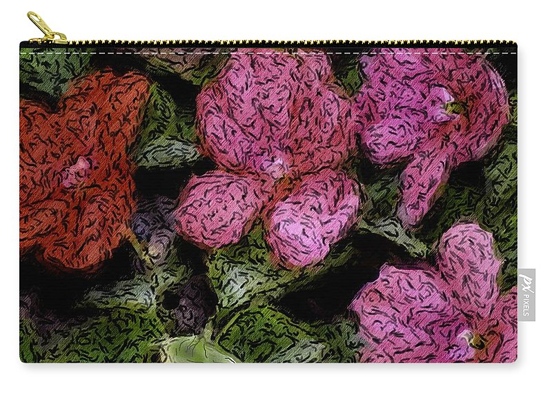 Digital Photograph Carry-all Pouch featuring the photograph Flower Sketch by David Lane