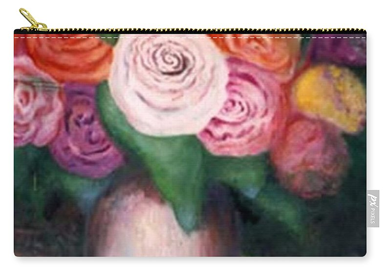 Flowers Carry-all Pouch featuring the painting Flower Spirals by Jordana Sands