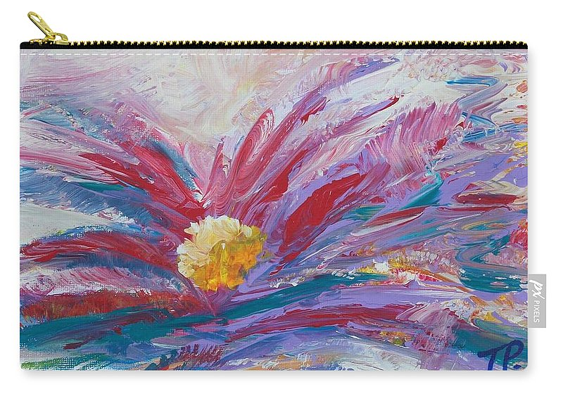 Flower Carry-all Pouch featuring the painting Flower by Theodora Pavlou