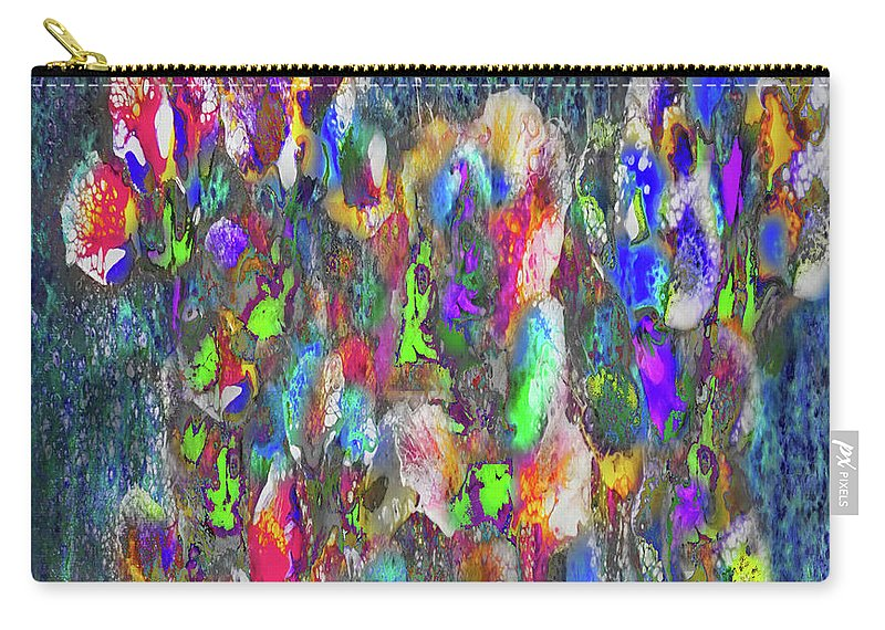 Flowers Abstraction Expression Carry-all Pouch featuring the painting Flower Trees by Darrell Mcgahhey