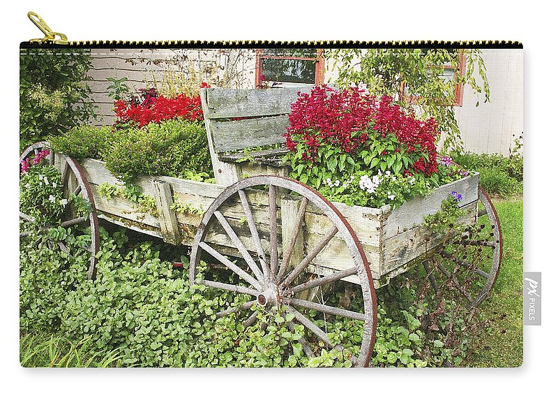Wagon Carry-all Pouch featuring the photograph Flower Wagon by Margie Wildblood