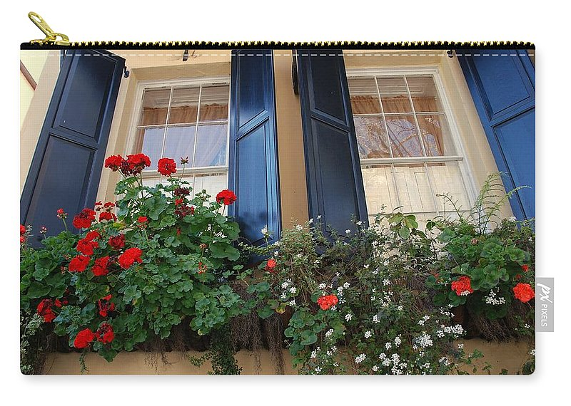 Window Carry-all Pouch featuring the photograph Flower Window In Charleston Sc by Susanne Van Hulst