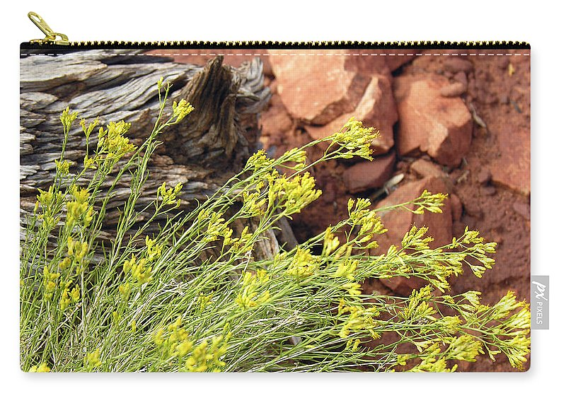 Flower Carry-all Pouch featuring the photograph Flower Wood And Rock by Marilyn Hunt
