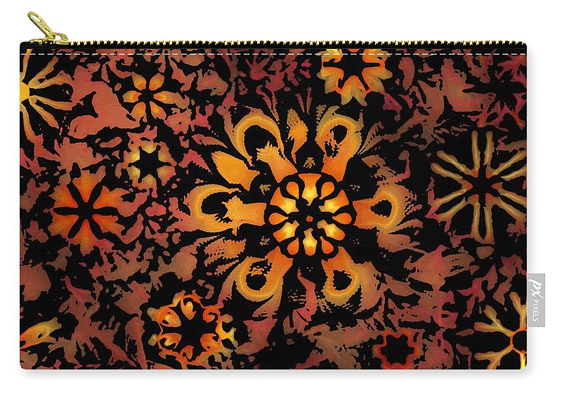 Abstract Digital Painting Carry-all Pouch featuring the digital art Flower Woodcut by David Lane