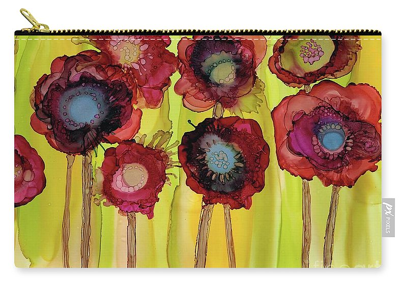 Flowerbed Carry-all Pouch featuring the painting Flowerbed by Beth Kluth