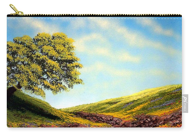 Wildflowers Carry-all Pouch featuring the painting Flowered Fields by Frank Wilson