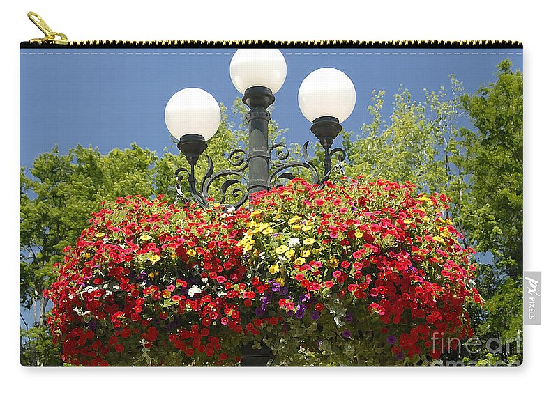 Flowers Carry-all Pouch featuring the photograph Flowered Lamppost by David Lee Thompson