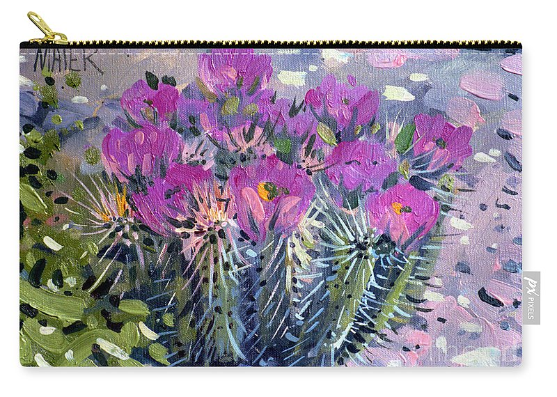 Flowering Cactus Carry-all Pouch featuring the painting Flowering Cactus by Donald Maier