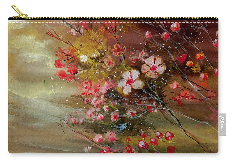 Nature Carry-all Pouch featuring the painting Flowers 2 by Anil Nene