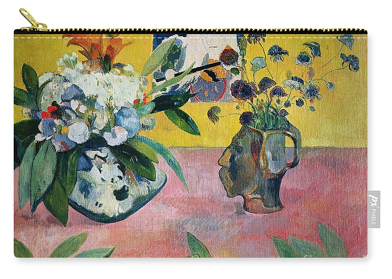 Gauguin Carry-all Pouch featuring the painting Flowers And A Japanese Print by Paul Gauguin