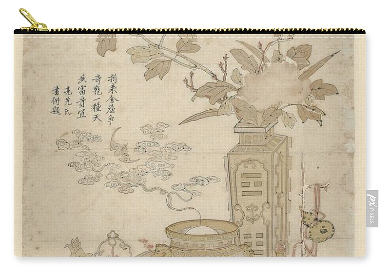 Art Carry-all Pouch featuring the painting Flowers And Burning Censer, Anonymous by Aadam asar