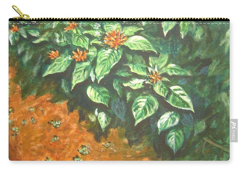 Orange Carry-all Pouch featuring the painting Flowers And Earth by Usha Shantharam