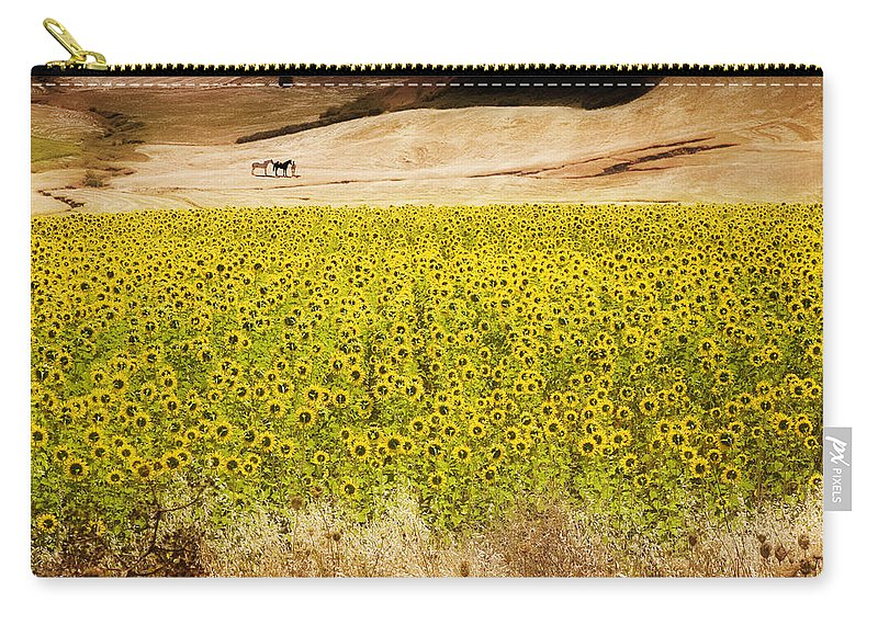 Spain Carry-all Pouch featuring the photograph Flowers And Horses Near Setinil Spain by Mal Bray