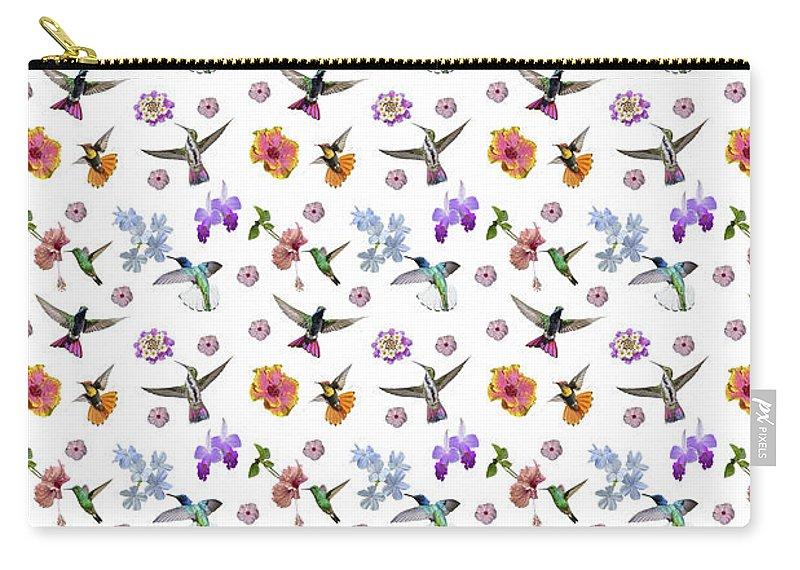 Hummingbird Carry-all Pouch featuring the digital art Flowers And Hummingbirds 1 by Rachel Lee Young