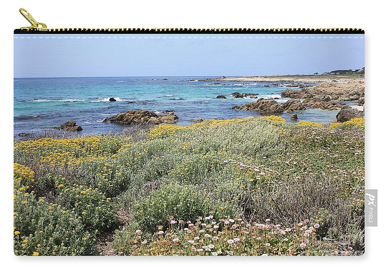 Carry-all Pouch featuring the photograph Flowers And Surf by Carol Groenen