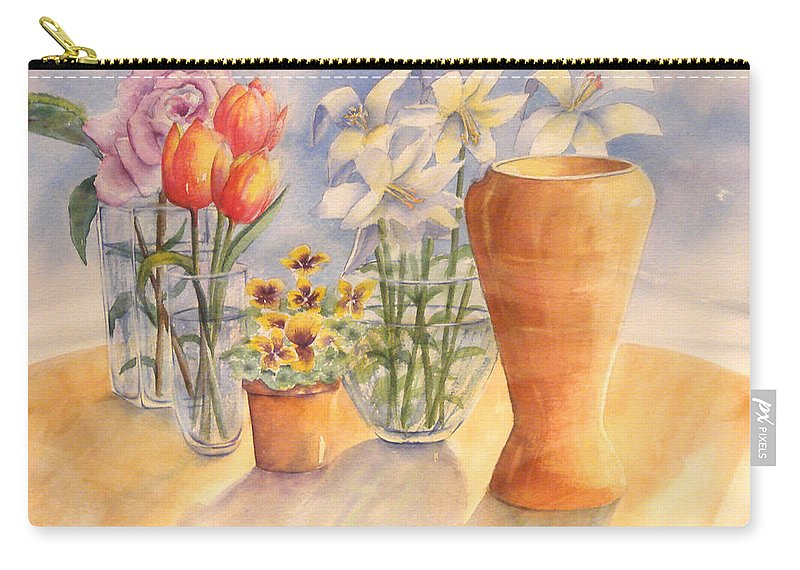 Watercolor Carry-all Pouch featuring the painting Flowers And Terra Cotta by Debbie Lewis