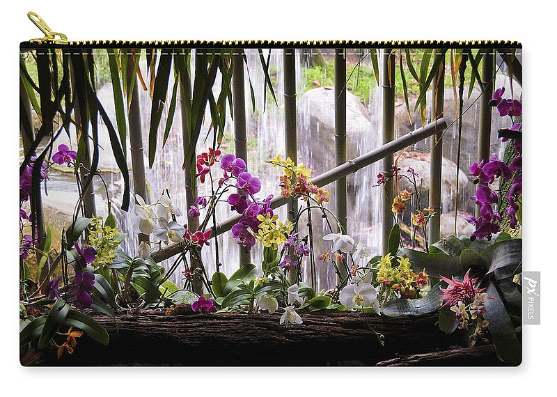 Flower Carry-all Pouch featuring the photograph Flowers And Waterfall by Steven Sparks