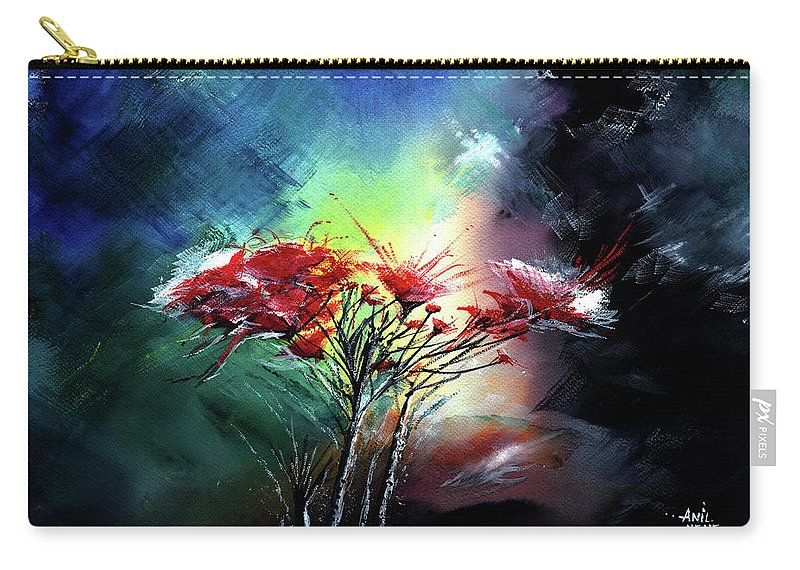 Nature Carry-all Pouch featuring the painting Flowers by Anil Nene