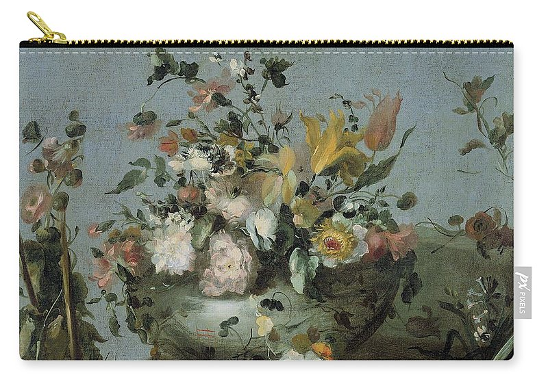 Flower Carry-all Pouch featuring the painting Flowers, Anonymous, C. 1700 - C. 1799 by Celestial Images