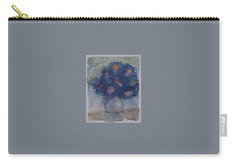 Watercolor Carry-all Pouch featuring the painting Flowers At Night Original Abstract Gothic Surreal Art by Derek Mccrea