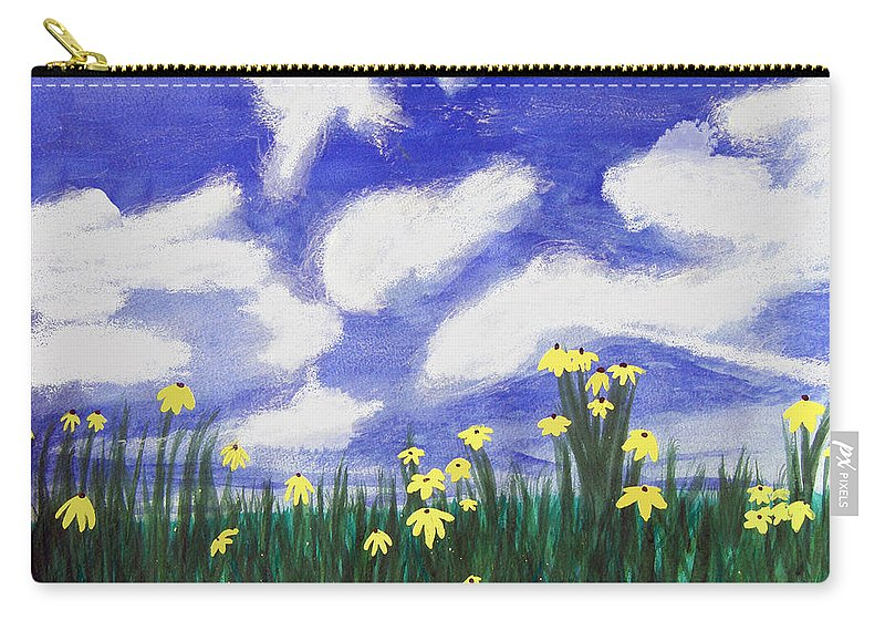 Acrylic Carry-all Pouch featuring the painting Flowers Bright Field by Lee Serenethos