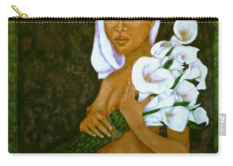 Love Carry-all Pouch featuring the painting Flowers For An Old Love by Madalena Lobao-Tello