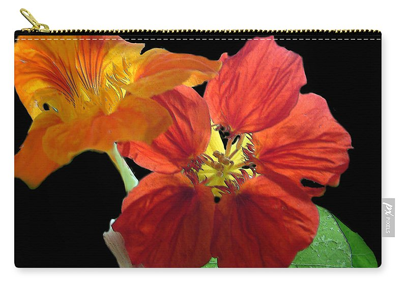 Nasturtiums Carry-all Pouch featuring the painting Flowers For Ebie by RC DeWinter