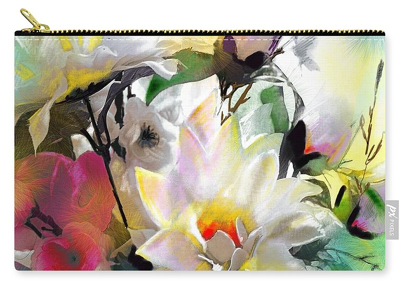 Flowers Painting Drawing Art Carry-all Pouch featuring the painting Flowers For My Friend by Miki De Goodaboom