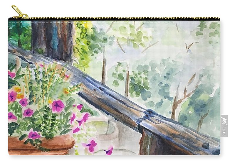 Flowers Carry-all Pouch featuring the painting Flowers in Morning Mist by Judy Swerlick