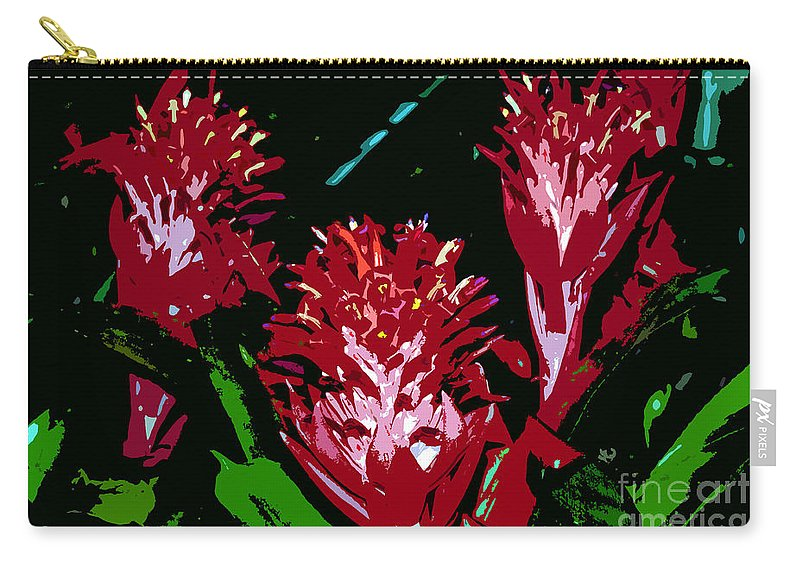Red Carry-all Pouch featuring the painting Flowers In Red by David Lee Thompson