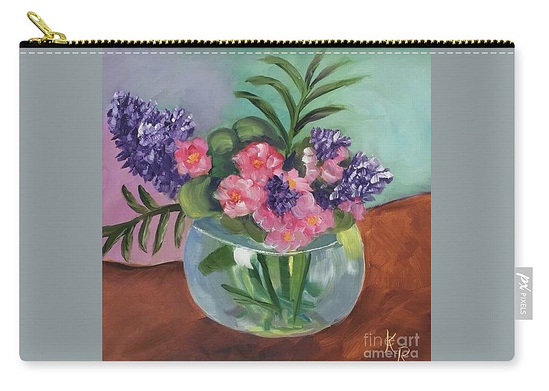 Purple Carry-all Pouch featuring the painting Flowers In Round Glass Vase by Katie Richcreek